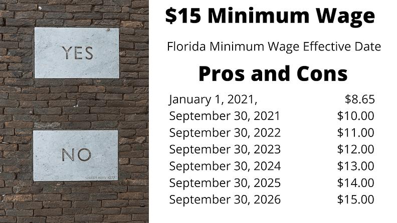 $15 Florida Minimum Wage Pros&Cons