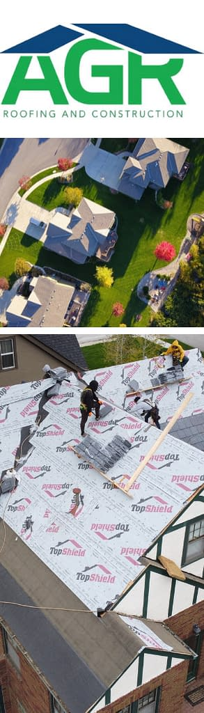 Images of professional roofing services and the AGR Roofing & Construction logo.