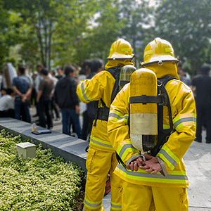 Firefighters waiting outside