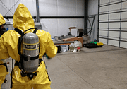 Hazardous materials training inside warehouse
