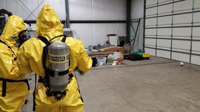 Hazardous materials training inside warehouse