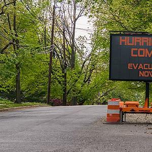 Road sign warning of coming hurricane