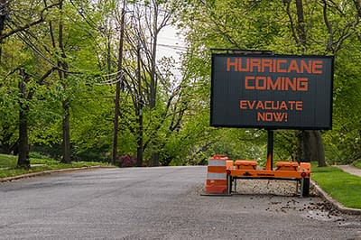 Road sign warning of coming hurricane