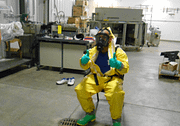 Hazardous materials training instructor in hazmat suit