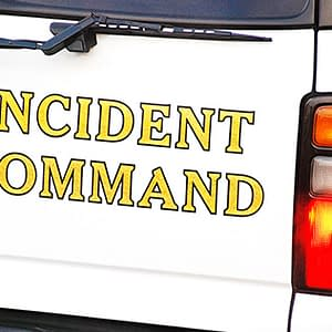 Incident command written on the back of a truck
