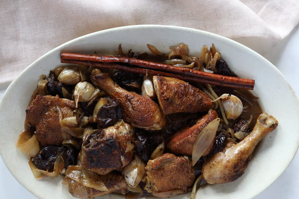 Wine-Braised Chicken with Prunes and Cinnamon