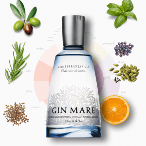 A bottle of Spanish Gin, Gin Mare, available at NYC & DC Spainish Restaurant Boqueria.