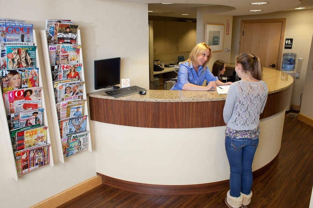 patient at the front desk