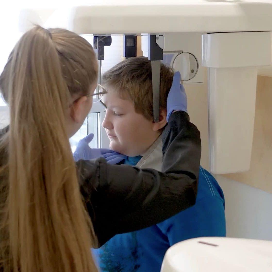 Young boy having x-rays taken