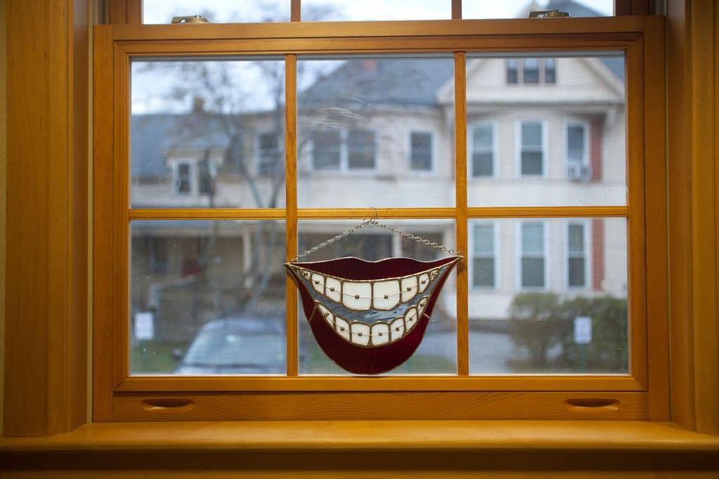 Smiling window display